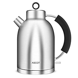 Electric Kettle, 100% Stainless Steel Interior Water Kettle Tea Kettle, 1.5L 1500W Cordless Electric Kettle Fast Heating, Food Grade Material, Boil Dry Protection & Automatic Shut-Off