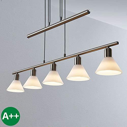 LINDBY Pendelleuchte \'Delira\' dimmbar (Modern) in Alu aus Metall u.a. für Wohnzimmer & Esszimmer (5 flammig, E14, A++) - Deckenlampe, Esstischlampe, Hängelampe, Hängeleuchte, Wohnzimmerlampe