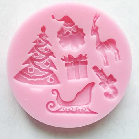 SANTAS ESSENTIALS SILICONE MOULD _ Chrismas Tree,Present,Reindeer,Candy Cane,Santa Claus, Food Grade Icing lace Mould, non (Food Grade Cera)
