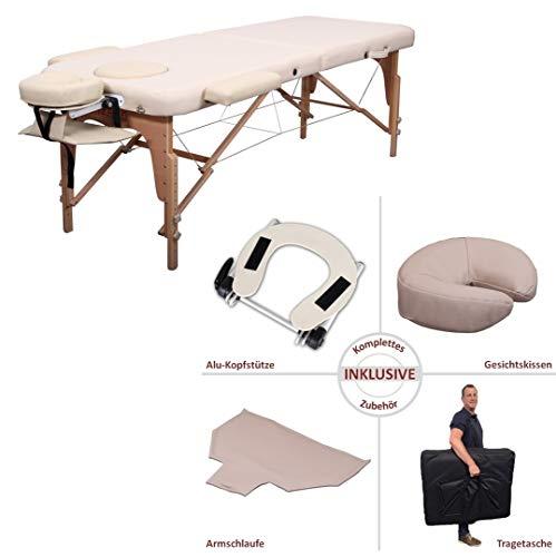 Zen Basic III/Mobile Massageliege Klappbar & Höhenverstellbar/Die Behandlungsbank hat 10 Jahre Garantie/Schadstoffgeprüftes & Geruchsfreies PU Kunstleder/inkl. Zubehör > TÜV Geprüft