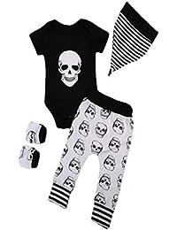 Halloween Outfits Set, Manadlian 4 Stück Säugling Halloween Baby-Knochen-Druck Spielanzug + Hosen + Hut + Handschuhe Set Kleider