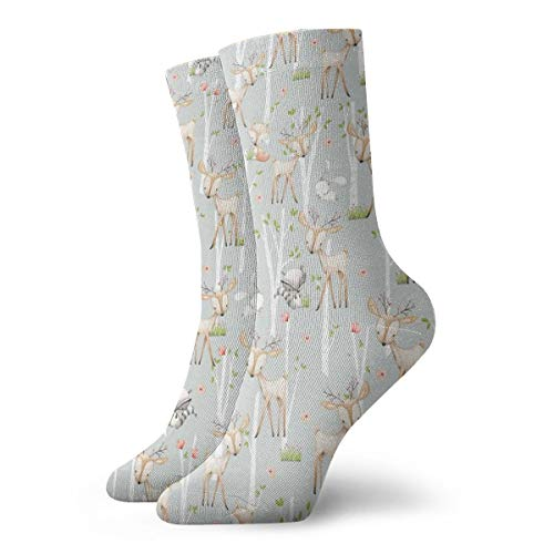 Süße Waldtiere (frostgrau) Hirsch Fuchs Waschbär Birken Blumen Malerei Kunst gedruckt lustige Neuheit Tier lässig Baumwolle Crew Socken 11,8 Zoll - Farbton Damen Socken Jeans