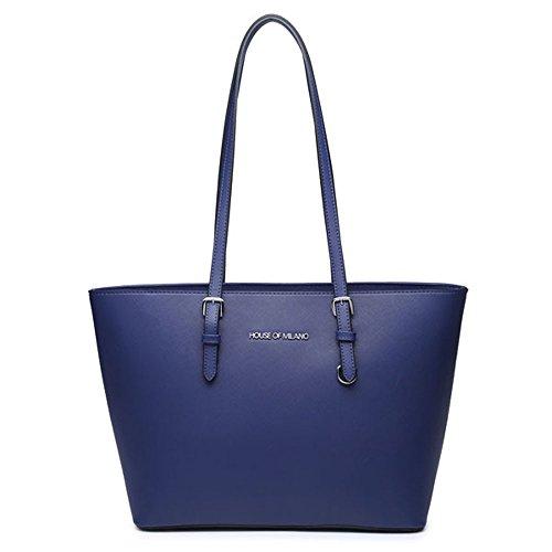 HB Style, Borsa tote donna Grigio Grey M Blue