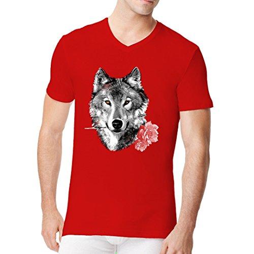 Im-Shirt - Wolf mit Rose cooles Fun Men V-Neck - verschiedene Farben Rot