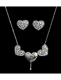 DollsofIndia White Stone Studded Heart Pendant With Earrings - Metal (DY58-mod) - Silver Color, White