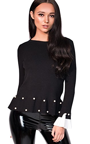 Ikrush Womens Nelly Pleated Sleeve Beaded Jumper