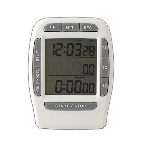 SYMTOP Gris LCD Digital Temporizador Alarma Triple