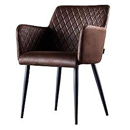 Damiware Rose Chaise avec Accoudoir | Salle à Manger Confort Revêtement en Tissu (Burgundy)