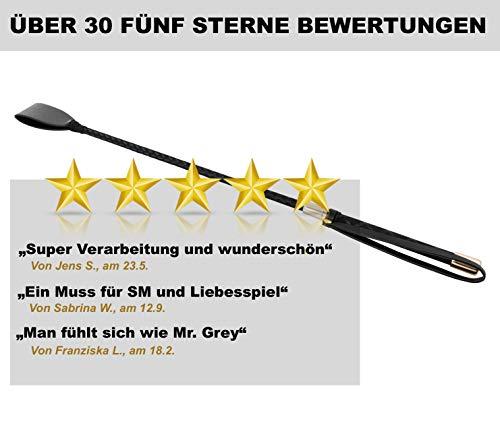 MTRUE® Premium Reitpeitsche Reitgerte erotische Peitsche Cosplay Toys Schwarz SM Spielzeug, Kunstleder, 60 cm lang - 3
