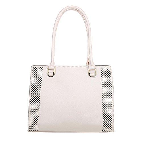 iTal-dEsiGn Damentasche Mittelgroße Schultertasche Handtasche Kunstleder TA-K702 Beige Rosa