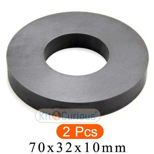 Kit4Curious 2 pcs Ferrite Ring Magnet / Ceramic Magnet with 70mm O.D. x 32mm I.D. x 10mm Thickness