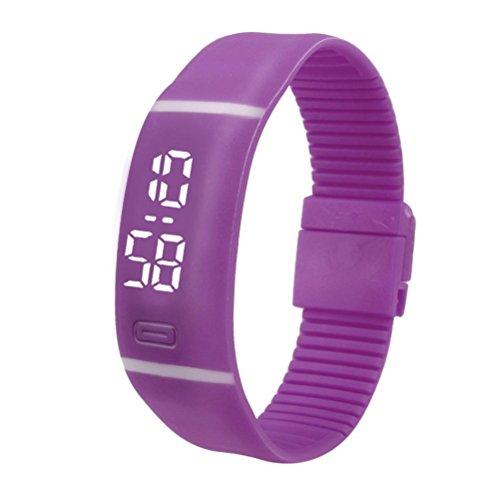 LSAltd Herren Damen LED Digitaluhr Unisex Gummi Datum Sport Armbanduhr Armband Geschenk (Lila)
