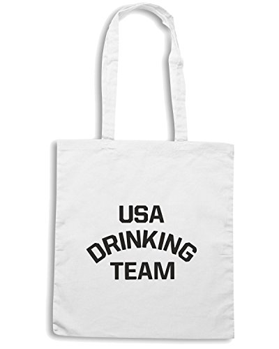 T-Shirtshock - Borsa Shopping FUN0164 06 28 2012 USA Drinking TEAM T SHIRT det Bianco
