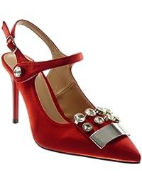 Elegante Rote Brautschuhe Rüsche Satin Pumps Mit Metall Schmuck