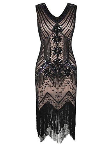 kayamiya Damen 1920er Pailletten Perlen Floral Verschönerte Fransen Gatsby Flapper Kleid S Schwarz Beige