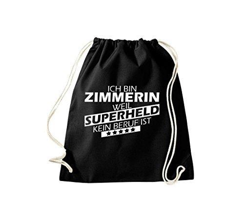 shirtstown BORSA PALESTRA Ich bin zimmerin, WEIL supereroe NESSUN occupazione è Nero