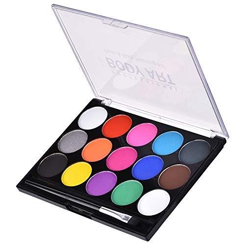 (Gesichtsfarben, 15 Farben ungiftig Farbe auf Wasserbasis Gesichtskosmetik-Set für Kinder Erwachsene bei Geburtstagsfeier, Halloween, Weihnachten oder anderen besonderen Anlässen)