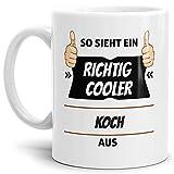 Tassendruck Berufe-Tasse so Sieht Ein Richtig Cooler Koch aus Weiss/Job / mit Spruch/Kollegen / Arbeit/Geschenk-Idee/Büro