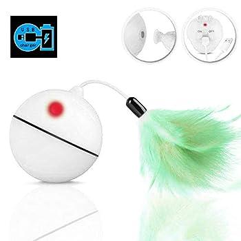 WLMall Jouet Chat - Balle à Rouler Automatique, Chargement USB Jouet Exercice à LED, Boule Auto-Rotative à 360 Degrés, avec Plume Détachable pour Animal de Compagnie