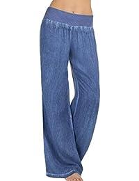 Moonuy Femme Pantalon Taille Haute Grande taille pantalon palazzo jambe  large Evase et Elastique Denim Pantalon 7c29d98b0da