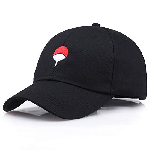 ALTcompluser Unisex Anime Naruto Baseball Cap Bestickt Akatsuki Logo Einstellbare Trucker Hat (Schwarz- Uchiha Family Logo)