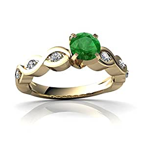 Genuine Emerald 14ct Yellow Gold Engagement Ring - Size R