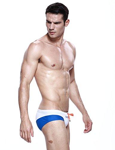 SEOBEAN Herren Sexy Badehose Bademode Brief Slip Bikini 2484 Weiß/Blau