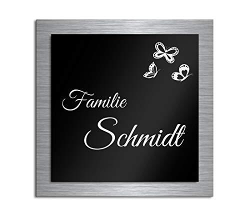 Premium Türschild aus Hochglanz Acrylglas und V2A Edelstahl | Namensschilder mit Gravur und Motiven Familienschild Türschilder für die Haustür mit Namen selbstklebend oder mit Bolzen 12x12 cm -
