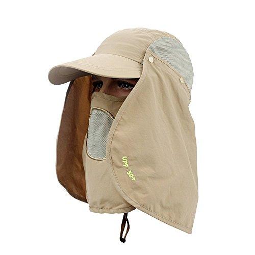 itplus 360Grad Jungle Wasserdicht Winddicht Sun Schutz Quick Dry Hat Cap UV50+ mit abnehmbarer Sun Shield & Maske für Angeln Mosquito Wandern