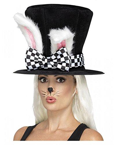 Horror-Shop Alice im Wunderland Zylinder mit Kaninchen-Ohren