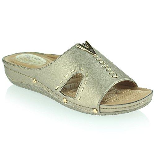 Frau Damen Druckpunkt Leichtes Flexibel Anti Glatt Sohle Massage Gepolstert Lässig Schlüpfen Keilabsatz Sandalen Schuhe Größe Grau