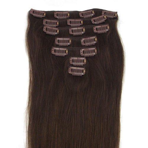 Nr. 2 Dunkelbraun Clip In Extensions Set 100% Echthaar 8 teilig 100g Haarverlängerung 50 cm Clip-In Hair Extension