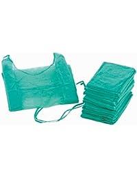 Bata hospitalaria desechable verde con puño elástico.