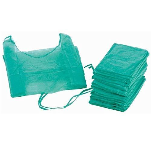 Bata hospitalaria desechable verde puño elástico