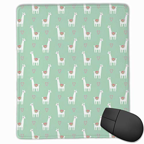 dges, Cute Llama With Candy Cane Hearts Fun Pattern On Mint Green Background,Gaming Mouse Pad Non-Slip Rubber Base ()