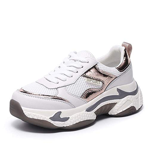 SHOES-HY Scarpe da Tennis da Donna Scarpe Casual Calzature comode per Ragazze Scarpe da Ciclismo da Passeggio,Bianca,37