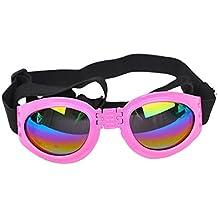 Kaisir Mascotas perro gato protector UV gafas de sol plegables lentes ojo desgaste protección con correa ajustable (rosa)