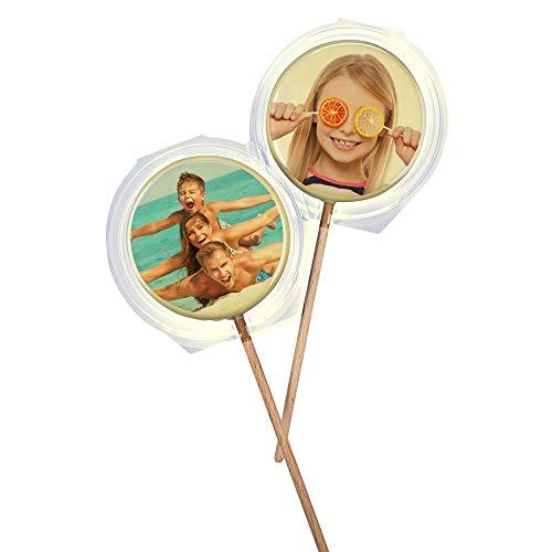 Lolli -personalisiert- aus feiner weißer belgischer Schokolade (6,9 cm) - mit Ihrem individuellen Foto/Motiv-gleich auf Amazon selbst gestalten