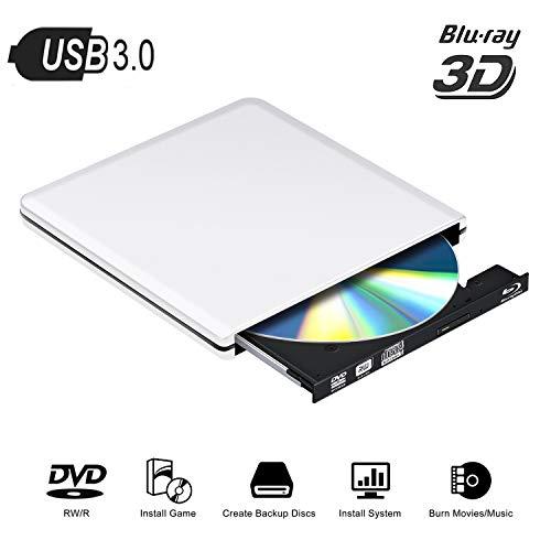 Blu Ray Externe DVD Laufwerk 3D,USB 3.0 Blueray CD Rom Player Brenner Tragbar für PC MacBook iMac os Windows 7/8/10/Vista/XP