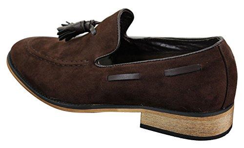 Chaussures italiennes mocassins hommes simili daim cuir pompon sans lacets bleu noir marron Marron