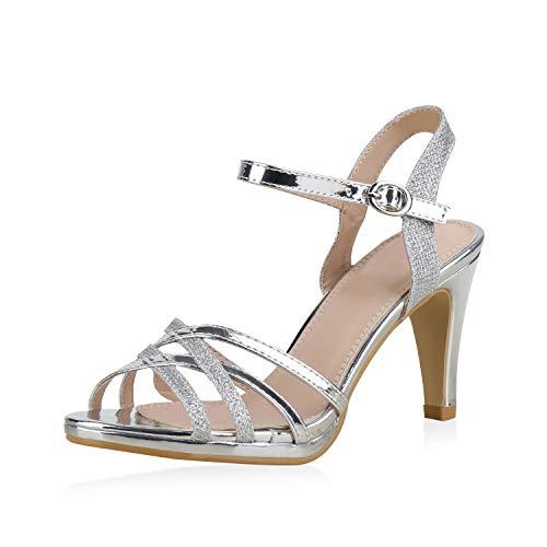 SCARPE VITA Damen Pumps Sandaletten Riemchensandaletten Elegante Metallic Schuhe Stiletto High Heels Glitzer 183230 Silber Total 35