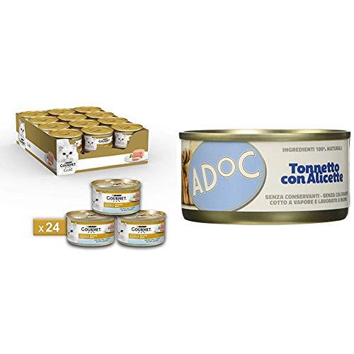 Combo gatto adulto: Gourmet Gold Pesce dell'Oceano 24 lattine + Adoc Tonnetto con Alicette  24 lattine (totale 48 lattine)