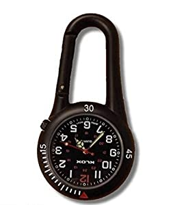Black Clip on Carabiner FOB Watch Ideal for Doctors Nurses Paramedics Chefs from Bullahshah Traders Ltd