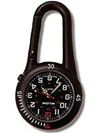 Black Clip on Carabiner Belt Fob Watch Ideal for Doctors Nurses Paramedics Chefs With 1 Extra Battery