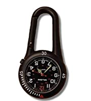 Black Clip on Carabiner FOB Watch Ideal for Doctors Nurses Paramedics Chefs With One Extra Battery