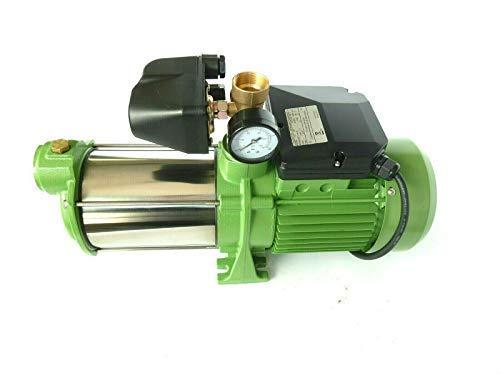 Kreiselpumpe Gartenpumpe HMC145 INOX + Druckschalter mit Manometer - Leistung: 1100W - Spannung: 230 V / 50 Hz 9000 L/h - 150l/min. 5 bar. Laufräder aus EDELSTAHL + integr. thermischer Schutzschalter. -