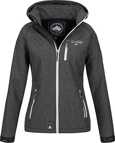 Geographical Norway Damen Funktions Softshelljacke Tassima Abnehmbare Kapuze Dark Grey S