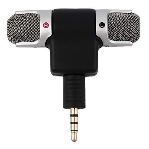 High Performance 3,5 mm Jack Portable Microphone stéréo Mini Micro numérique pour téléphone Portable enregistreur Chanter chansons karaoké (Noir)