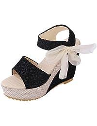 Minetom Sandalias con Cuña Mujer Verano Dulce Encaje Arco Peep Toe Zapatos Chancletas Zapatillas Playa Boda
