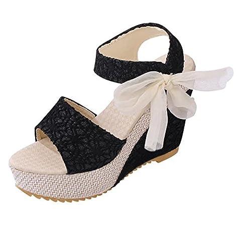 Minetom Femme Elégant Plateformes Semelle Compensée Sandales Peep Toe Chaussures Talon Haut Chaussons Flip Flops Tongs Noir EU 38